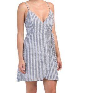 Linen Lux Ebby & I Striped Wrap Dress Blue White L